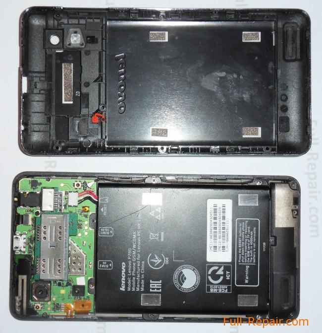 Lenovo P780. Задняя крышка снята